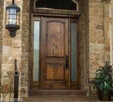 Exterior Innovative Rustic Door For Entryway With Solid Wood And Double Sidelight Latticework