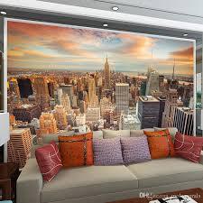 großhandel benutzerdefinierte wandbild tapeten moderne stadt gebäude landschaft wohnzimmer sofa tv hintergrund wandmalerei fototapete 3d