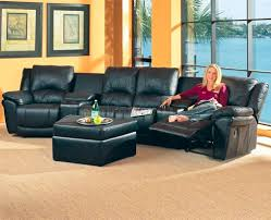 Movie Theatre With Reclining Chairs Nyc by Black Bonded Leather Match Modern Home Theater Sectional Sofa