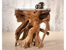 kagua beistelltisch aus teak wurzelholz mit glasplatte wood collection