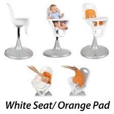 boon flair pedestal highchair white orange