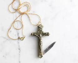 Cross Pumpkin Carving Patterns Christian by Crucifix Cross Pocket Knife Necklace Brass Religious Symbol