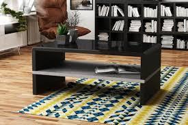 design couchtisch tisch rock schwarz hochglanz beton betonoptik wohnzimmertisch 100x60x43cm mit ablagefläche design impex