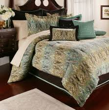 Bedroom King Size Bed With Teal Blue And Brown Linen Bedding
