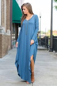 long sleeve maxi dress with slits snorkel blue the mint julep