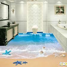 nach 3d boden wandmalereien tapete strand badezimmer wasserdichte boden aufkleber pvc selbst adhesive wandbild papel de parede 3d hause decor