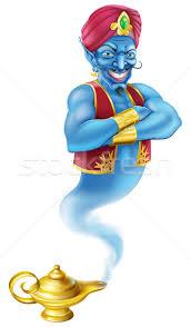 evil genie and magic oil l vector illustration christos