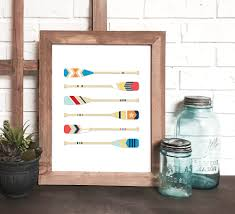 Decorative Oars And Paddles nautical print nautical wall art canoe paddle print wooden