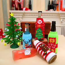 1Pc Christmas Wine Bottle Decor Snow Deer Tree Cover Clothes Kitchen Decoration For New