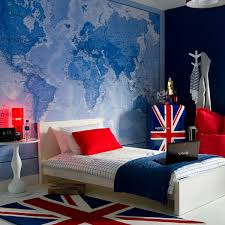Flag Themed Boys Bedroom Design With Map Wall Decor And Rug