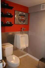 Man Cave Bathroom The Ideal For And Harley Lover Just A Splash Of Orange Chicago Bears Too Diamond Plate As Decorative