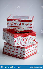 Christmas Gift Wrapping Paper With A Transparent Window Stock Photo