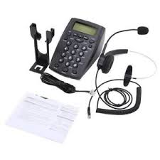 HT500 Desk Telephone With Corded Headset Call Center Phone Dial