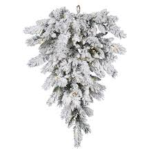 Vickerman 75 Ft Pre Lit Flocked Upside Down Artificial Christmas Tree With 50