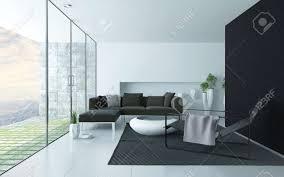 anthrazit und weiß modernen wohnzimmer innenraum mit einer glaswand mit blick auf eine gepflasterte terrasse und polstersitzgruppe lehnstuhl und
