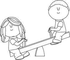School Playground Clipart Black And White 4 Kids Playing On