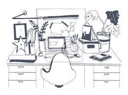kreative modernen arbeitsplatz mit laptop gezeichnet vektor illustration bilder myloview