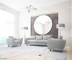 graue sofa weiß und holz wohnzimmer spiegel stockfoto und mehr bilder abwarten