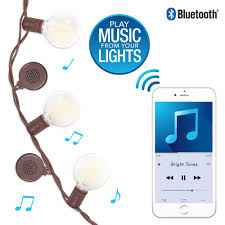 bright tunes 12 bulb warm white bluetooth speaker outdoor string