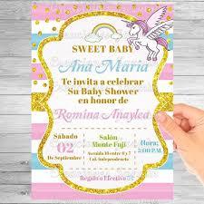 84 INVITACIONES BABY SHOWER NIñA UNICORNIO