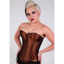 rusty brown iridescent overbust steel boned corset