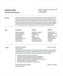 Sample Resume For Hotel Management Letter Hospitality