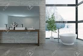 3d rendering badewanne große fenster in luxus badezimmer mit wand der hellen fenstern mit blick auf verschneite landschaft mit blick auf