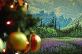 Alaska Pioneer s Home Christmas Tree Mountain painting …