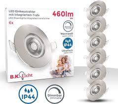 b k licht led einbauleuchte led einbaustrahler bad spot dimmbar le ip44 5w spot strahler 3er set kaufen otto