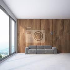 fototapete wooden loft wohnzimmer graues sofa