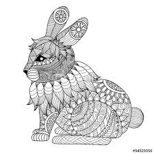 Vector Drawing Zentangle Rabbit For Coloring Page Shirt Design Effect Logo Tattoo