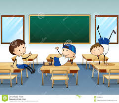 Three Boys Playing Inside The Classroom Stock Vector