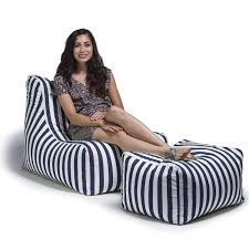Jaxx Ponce Outdoor Bean Bag Lounge Chair & Leon Ottoman, Navy Stripes Cupcake Print Bean Bag Lounge Chair Beach Cover Towel Sun Lounger Mate Holiday Garden Buddy White Ding Slipcover Cheap Wedding Hat And Bag On Lounge Chairs At Tropical Sandy Beach Triangle Chair Charles Ray Eames Tote Adorable Durable Unfilled Chairs Lazy Sofa Cozy Single Fniture Home Decor Modern Hd For Your Jaxx Ponce Outdoor Leon Ottoman Navy Stripes Chaise Interior Design Ideas