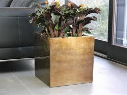 pflanzkübel cubo hochglanz bronze 40x40x40 cm