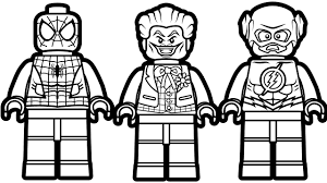 Lego Coloring Pages Spiderman And Joker Flash Book Of