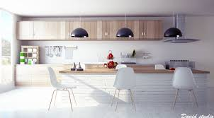 modern wooden kitchen whatta cool concept to use the brick wall