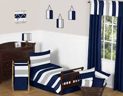 Navy Blue and Gray Stripe Toddler Bedding 5pc Set by Sweet Jojo