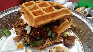 Pulled Pork Waffle Sandwich, Complete With Sour Cream, Scallions ...