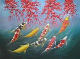 2018 Feng Shui Painting Art Japanese Koi Fish Oil Canvas Hand Painted Home Office Wall Decor From Fashiondig 9826