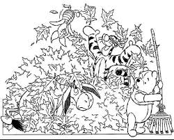 Winnie Pooh Fall Coloring Pages