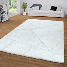 wohnzimmer teppich weiß hochflor weich shaggy 3 d design