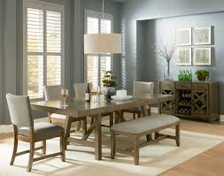 Ortanique Dining Room Table by Omaha Transitional Grey Mango Veneer Solid Fabric 6pc Dining Room