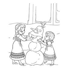 Baby Anna And Elsa Making Olaf In Frozen Coloring Pages