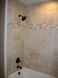 shower surround in square tile with linear tile border n koehn