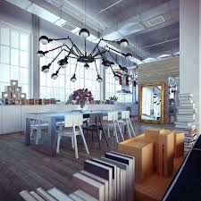 Chandelier Over Dining Room Table by Furniture Industrial Loft Dining Room Furniture With Black Spider