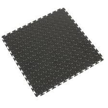 COBA Europe Tough Lock PVC Interlocking Floor Tiles Black 500mm x