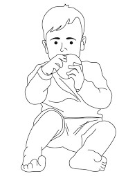 Boy Eating Bread Coloring Page