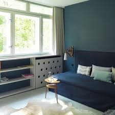 75 beautiful linoleum floor living room with blue walls