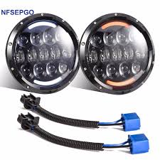 nfsepgo for jeep wrangler projector led headlight 7inch 105w led