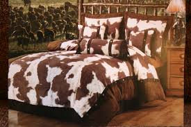 Grandiose Cows Pattern Bed Covers Sheet For Master Size Rustic On Dark Wood Floors As Decorate In Vintage Bedroom Ideas